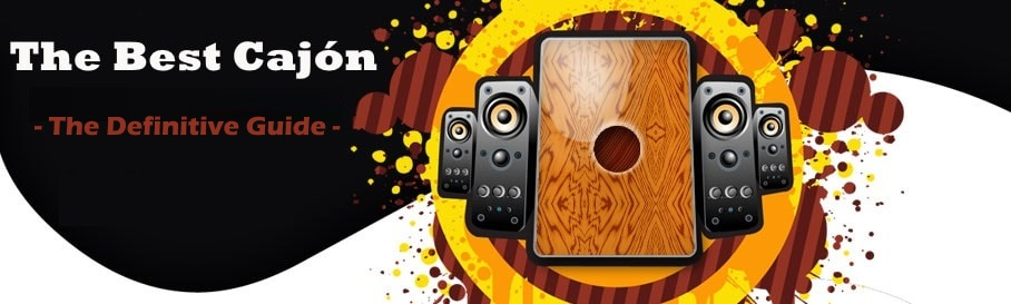 cajon drum with 2 speakers to its each side