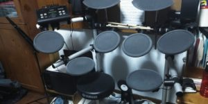 an electronic drum set