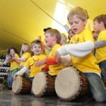 Drum with Kids Using Floor Drums