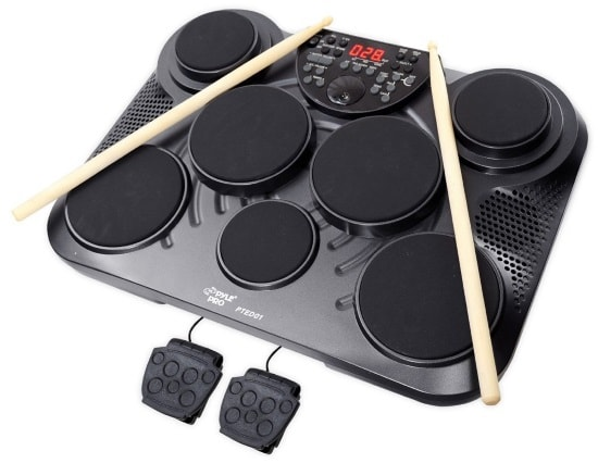 Table electronic digital drum set in black color
