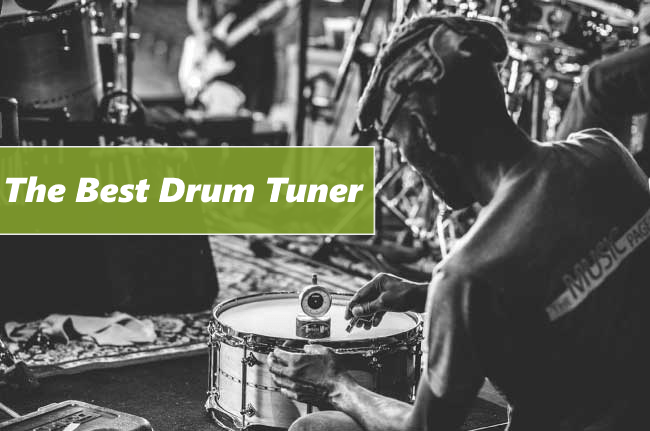 Header image of the article best drum tuner on which Dave Greene is using drum tuner
