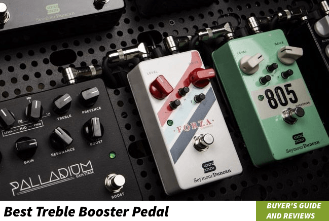 Picture of different guitar pedals on of them is treble booster