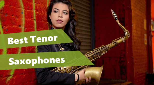 a female player holding one of the best tenor saxophones