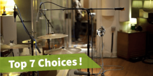 featured image of the article best overhead mic stands, in the image there are 3 mic stands