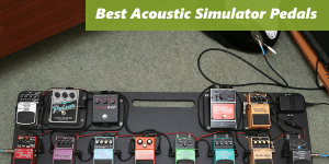 Picture with the 5 best acoustic simulator pedals: Joyo JF-323 Wooden, AROMA AAS-3 AC, Hotone TPSWOOD Wood, Mooer MAC1 Akoustikar