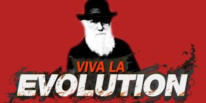 """drawing of Charles Darwin on red back ground with the text """"viva la evolution"""" on the foreground"""