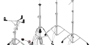 picture of drum set hardware, tom and cymbal stands plus single bass pedal