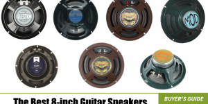 image of all of the 8-inch guitar speakers we are reviewing in our list